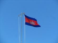 De Cambodjaanse vlag. Ook rood - wit - blauw!