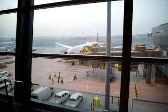 Op het vliegveld in DOHA.