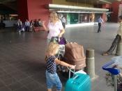 Net aangekomen op het vliegveld.