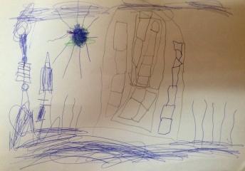Een tekening van ons plekje door Micha.