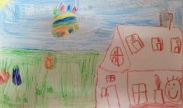 Een tekening van ons huis door Joy.